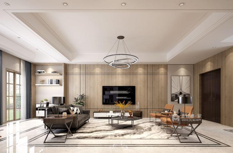 410平大别墅,论木质元素如何与现代风融合-空间效果图