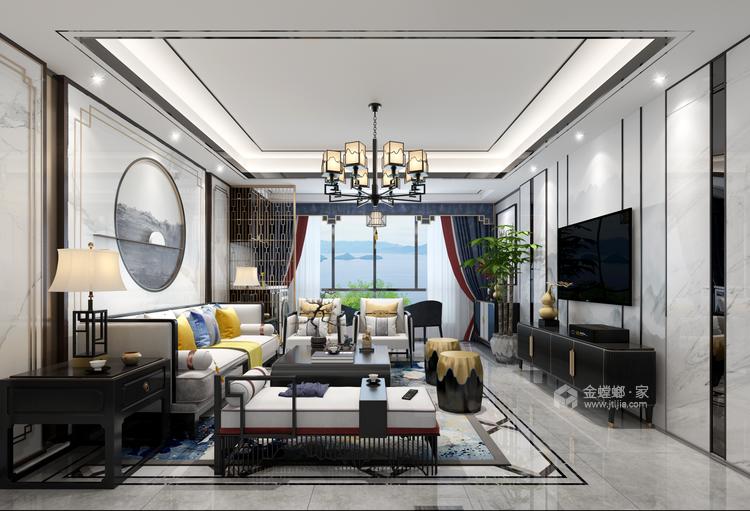 新中式品质慢生活-客厅效果图及设计说明