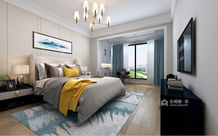 121平大三居,简约舒适新中式-卧室效果图及设计说明
