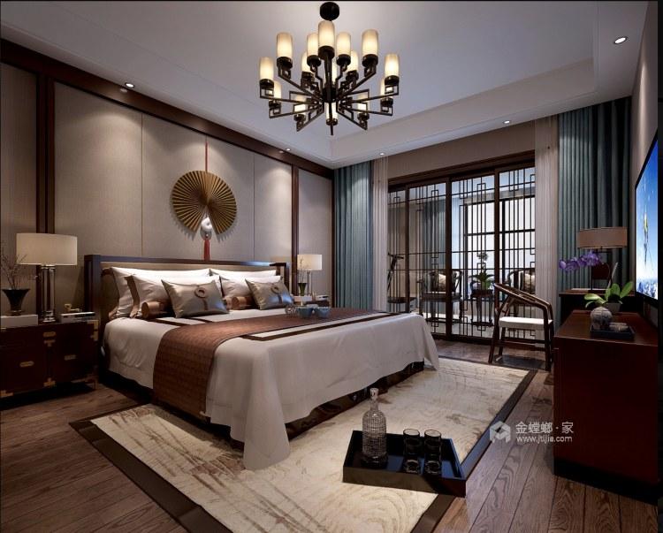 蓝色于实木色的撞色搭配,给人眼前一亮的中式风-卧室效果图及设计说明