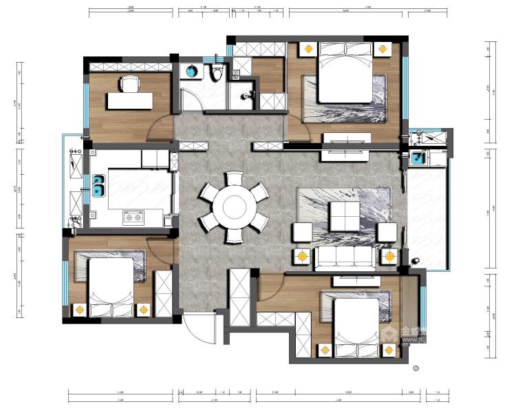 121平大三居,简约舒适新中式-平面设计图及设计说明