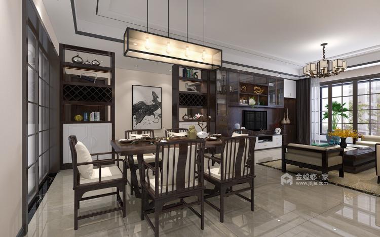 121平大三居,简约舒适新中式-餐厅效果图及设计说明