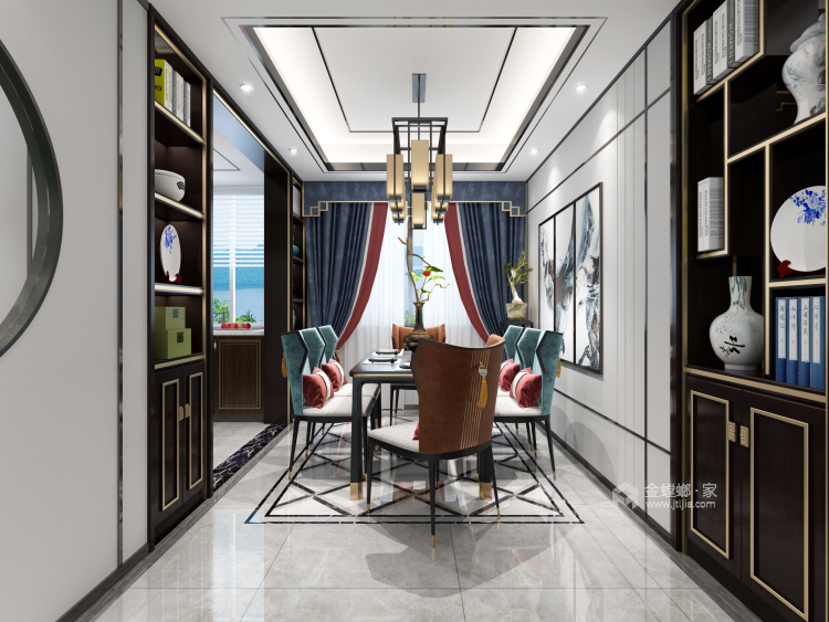 新中式品质慢生活-餐厅效果图及设计说明