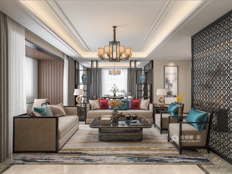 注重韵味的表达 空间和谐--263平新中式赏析-客厅效果图及设计说明