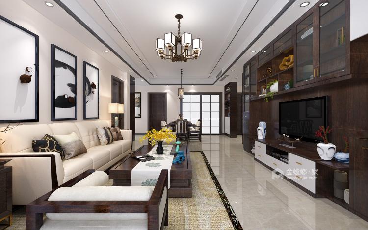 121平大三居,简约舒适新中式-客厅效果图及设计说明