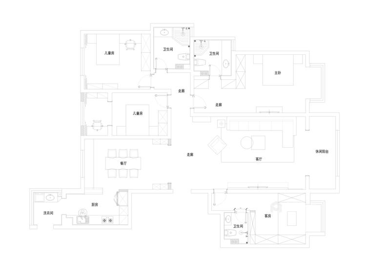 230平4居室 现代时尚前卫 深色木饰面体现温馨感-平面布置图