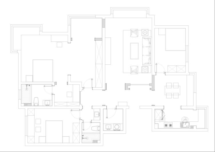 160平3居室 玫瑰金铜屏风,凸显对生活的态度-平面布置图