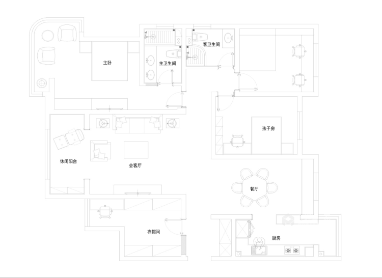 190平4居 现代风格 米色加深色木既温馨也很有品-平面布置图
