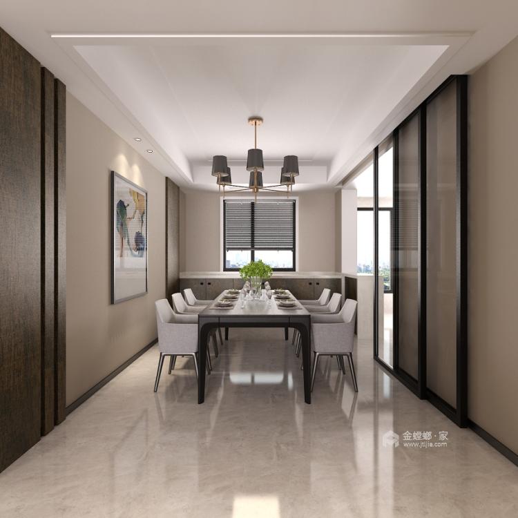 190平4居 现代风格 米色加深色木既温馨也很有品-空间效果图