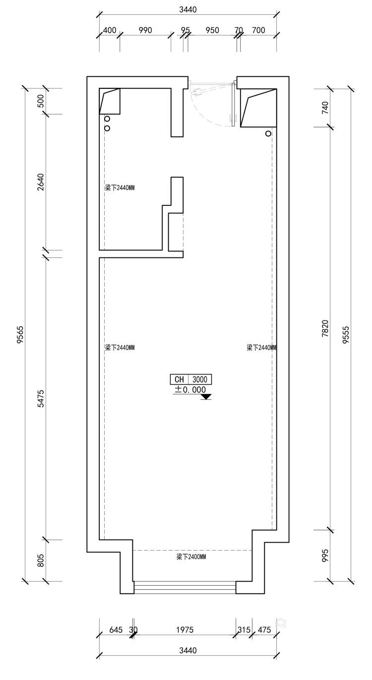 适合都市白领的日式单身公寓-业主需求&原始结构图