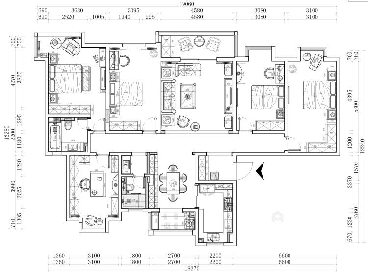 248平美式大平层,为你装饰属于你的美宅-平面设计图及设计说明