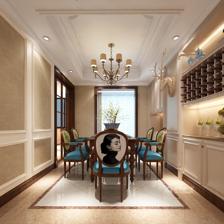 248平美式大平层,为你装饰属于你的美宅-餐厅效果图及设计说明