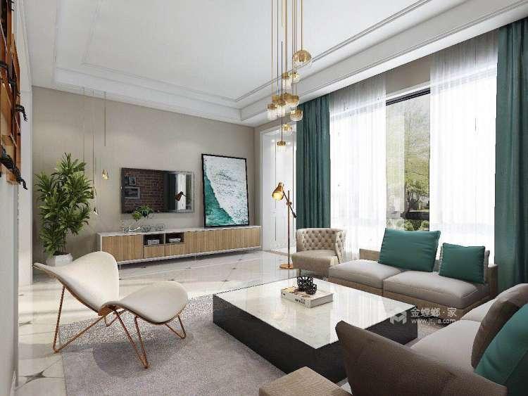480平北欧风别墅,闹中取静简约风-客厅效果图及设计说明