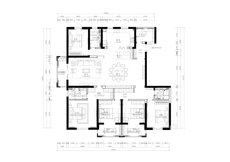 三世同堂大平层,尽享天伦之乐-平面设计图及设计说明