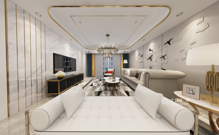 三世同堂大平层,尽享天伦之乐-客厅效果图及设计说明