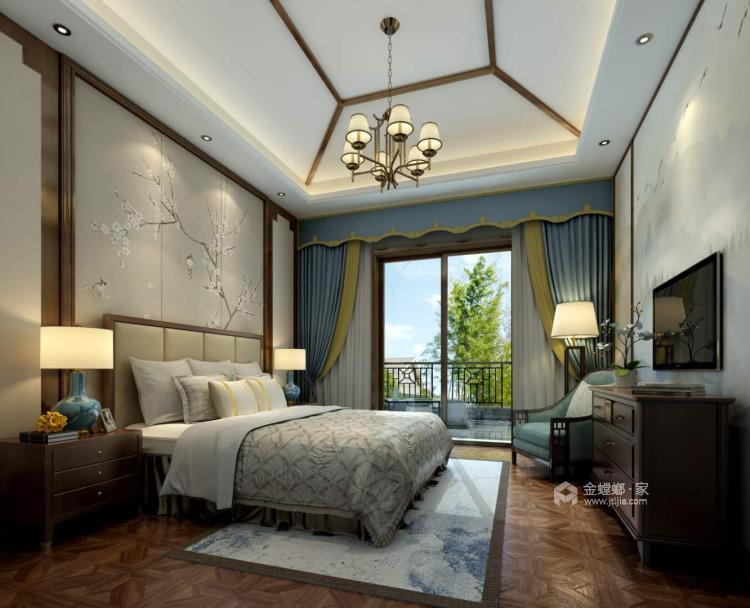 300平新中式别墅,三世同堂其乐融融的家-卧室效果图及设计说明