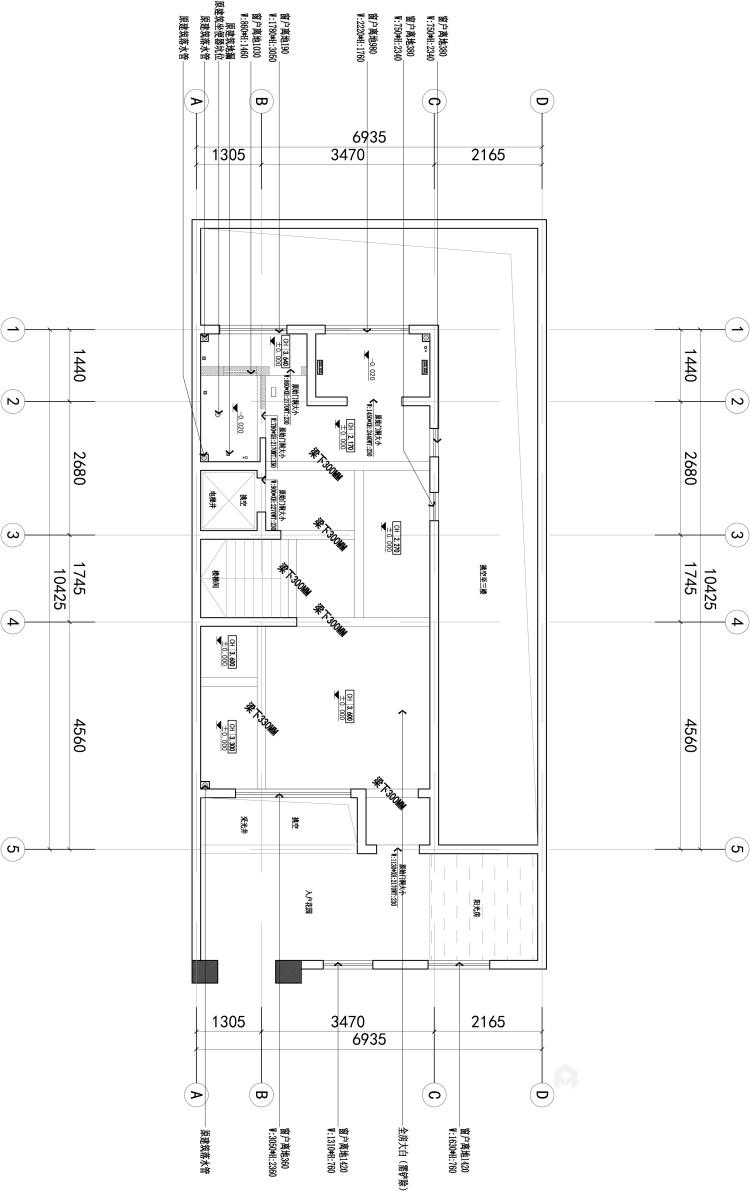 480平北欧风别墅,闹中取静简约风-业主需求&原始结构图
