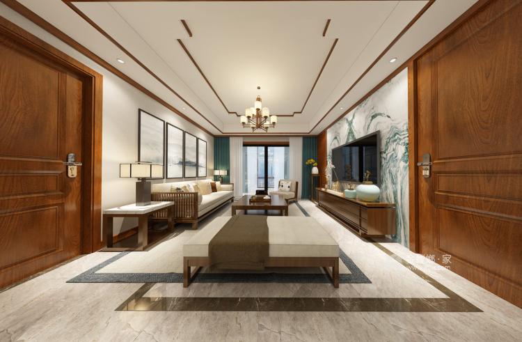 142平大三居,教你这样装修新中式-客厅效果图及设计说明