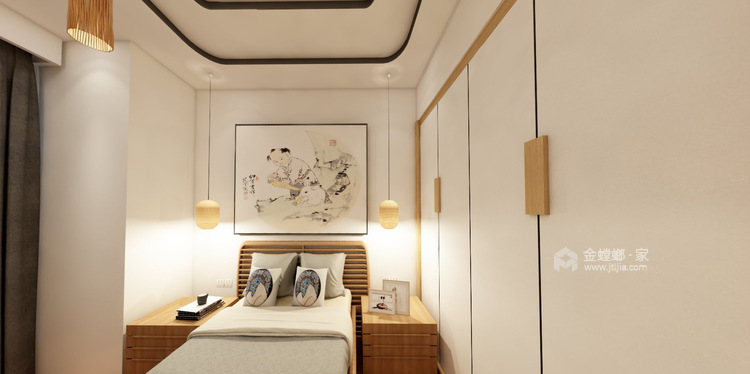 适合都市白领的日式单身公寓-卧室效果图及设计说明