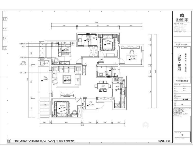 156平中式美宅,复古大方-平面布置图