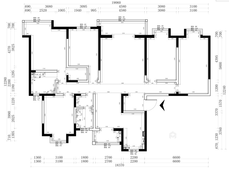 248平美式大平层,为你装饰属于你的美宅-业主需求&原始结构图
