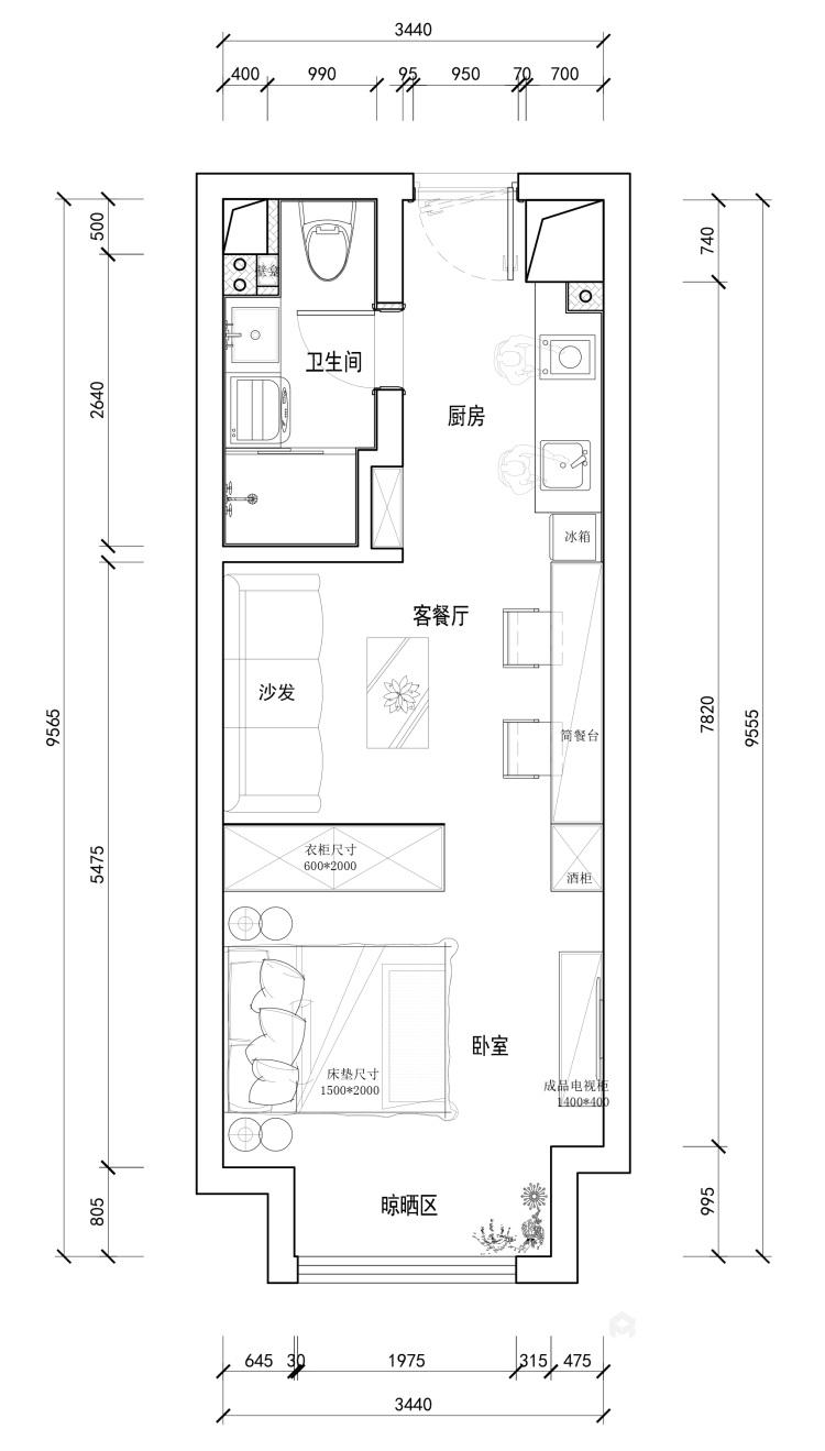 适合都市白领的日式单身公寓-平面设计图及设计说明