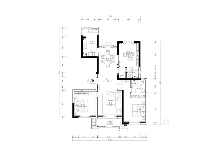 142平大三居,教你这样装修新中式-平面设计图及设计说明