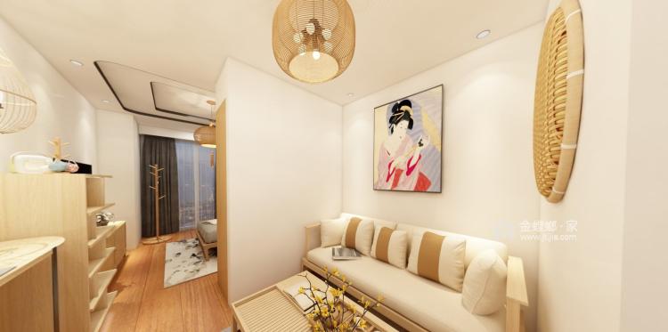 适合都市白领的日式单身公寓-客厅效果图及设计说明