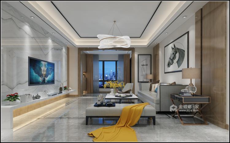153平美宅,简约的现代美学-客厅效果图及设计说明