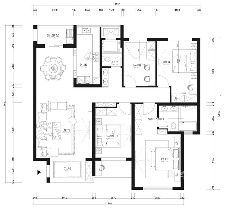 153平美宅,简约的现代美学-平面设计图及设计说明