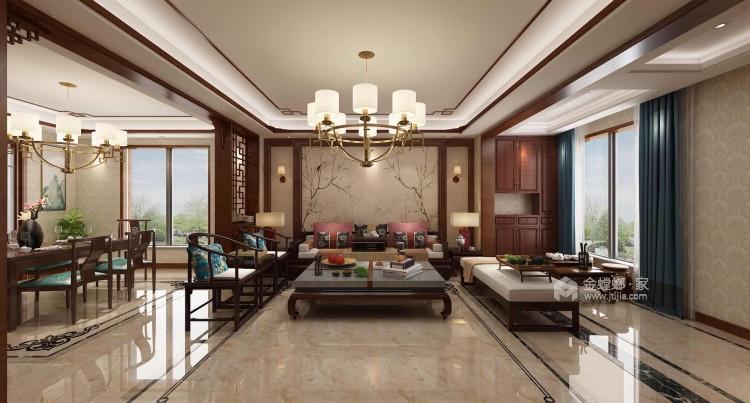 220平新中式别墅,优雅而又大气-客厅效果图及设计说明