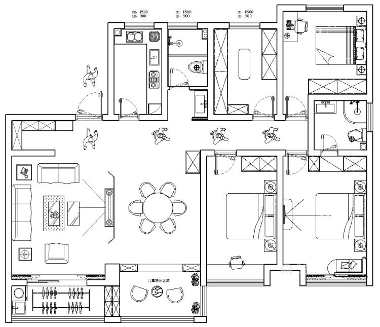 168平新中式风格设计案例-平面布置图