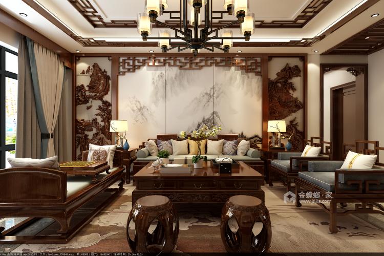 177平纯中式风-客厅效果图及设计说明