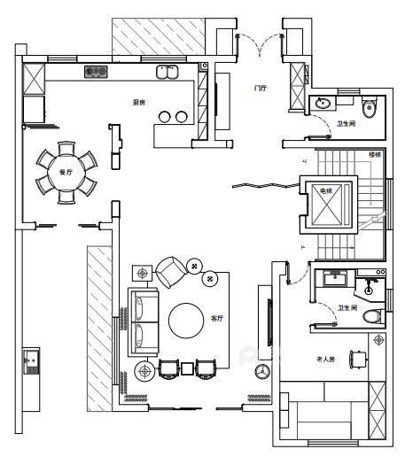 青年企业家的芝兰之室-平面设计图及设计说明
