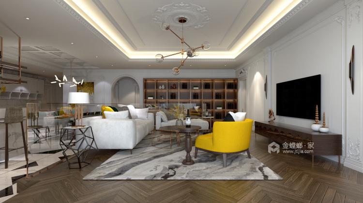 白色复古欧式,做维多利亚时代的公主-客厅效果图及设计说明
