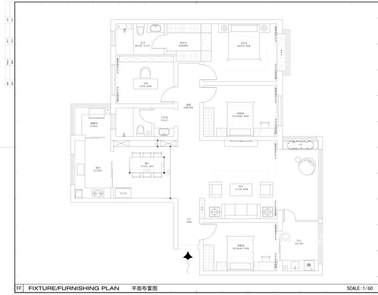 超大海景房搭配简约美式,美!-平面设计图及设计说明