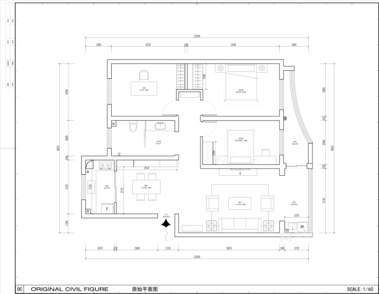 超大海景房搭配简约美式,美!-业主需求&原始结构图