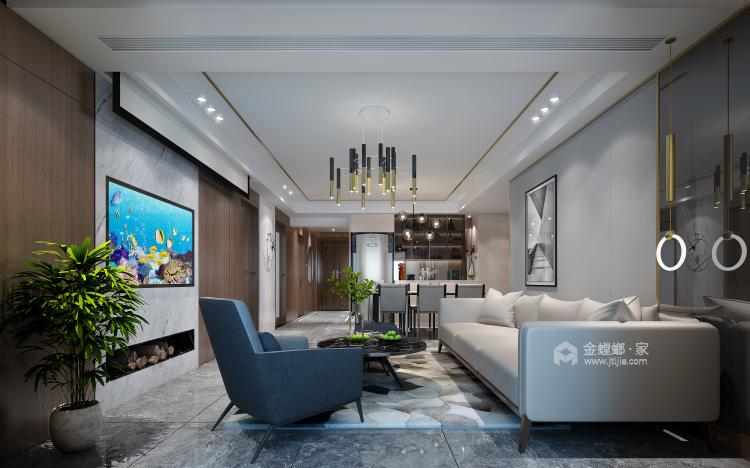 157平现代轻奢,是对生活品质的精益求精-客厅效果图及设计说明