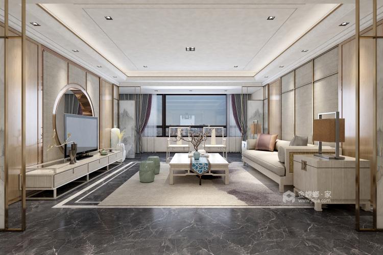 浅木色的新中式显得优雅大方-客厅效果图及设计说明