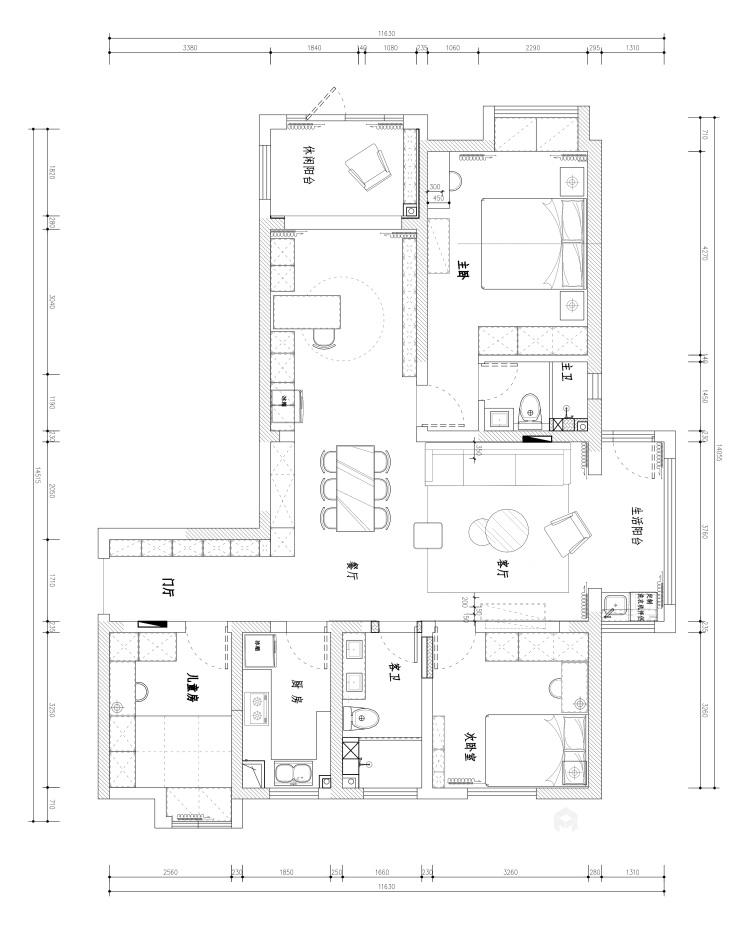 157平现代轻奢,是对生活品质的精益求精-平面设计图及设计说明