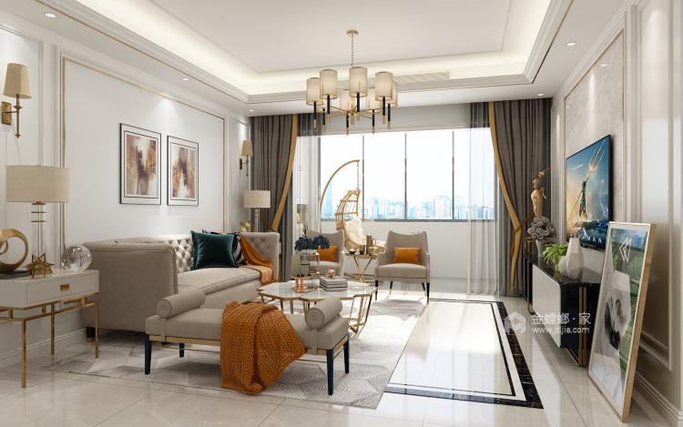 美出新境界,追求现代的整洁、干净之美-客厅效果图及设计说明