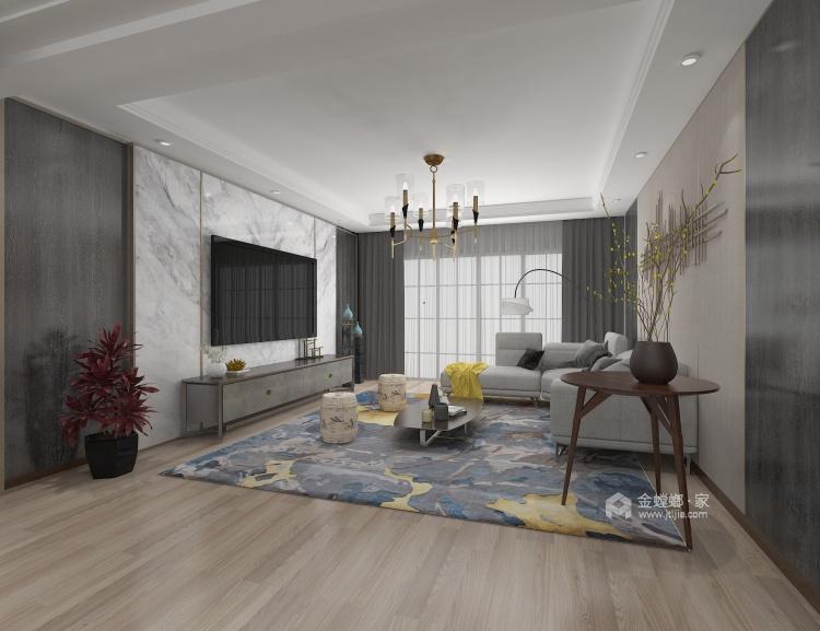 时尚温馨的现代风格家-客厅效果图及设计说明