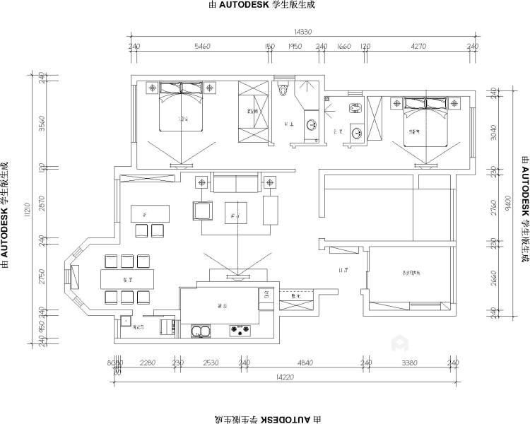 156平北欧小清新,舒适宜人-平面设计图及设计说明