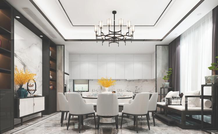 新中式,现代与传统的相结合-餐厅效果图及设计说明