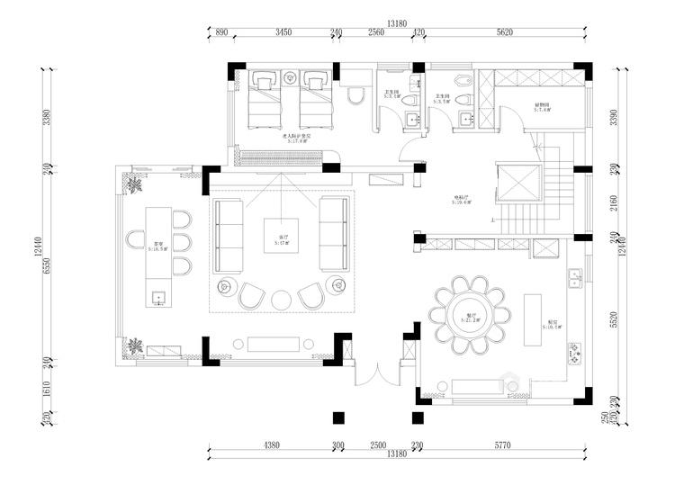 新中式,现代与传统的相结合-平面设计图及设计说明
