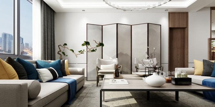 现代中式,给生活以清隽的滋味-客厅效果图及设计说明