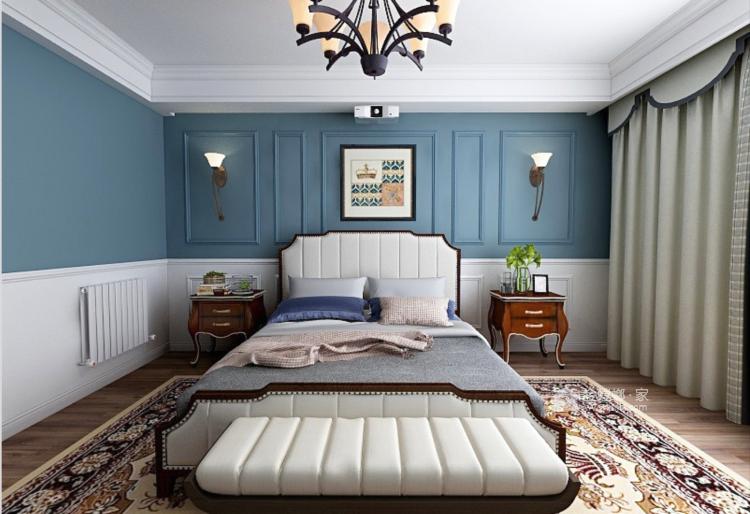 简约而不失温馨,撞色营造居家氛围-卧室效果图及设计说明