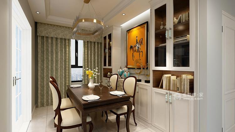 简约而不失温馨,撞色营造居家氛围-餐厅效果图及设计说明