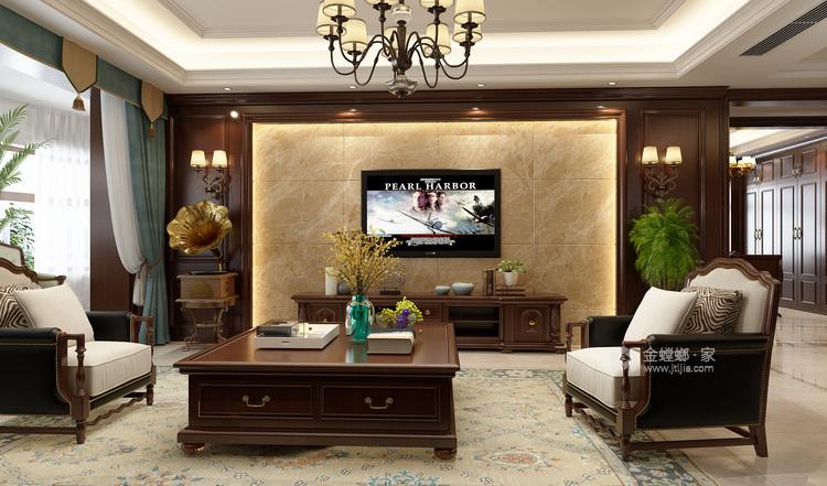 225美式遇见美的生活-客厅效果图及设计说明