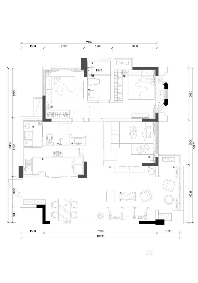 整体家私与风格的感觉延续-平面设计图及设计说明